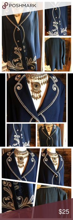 Navy Blue with White and Gold Trim Dress Jacket 20 Dressy,  navy blue jacket.  Embellished with gold and silver swirl threads.. The jacket is size 20. It has. A lining, shoulder pads, a 2 button front closure and long sleeves.  It is preowned in very good condition. The brand label was removed when I purchased it.  From a smoke free home with pets. Jackets & Coats Blazers