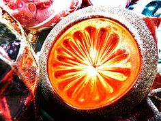 Vintage Orange and Glitter Christmas Ball