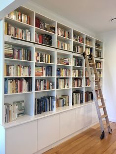 A rolling ladder installation by one of our lovely customers. A rolling ladder installation by one of our lovely customers. Home Library Rooms, Home Library Design, Library Wall, Home Libraries, Home Office Design, House Design, Library Ladder, Dream Library, Office Decor