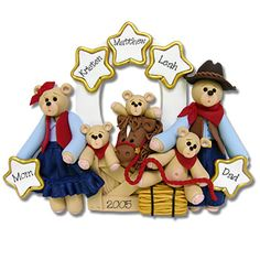 Belly Bear Cowboy  Family of 5  Personalized Christmas Ornament