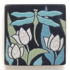 Dragonfly Ceramic handmade tile tulips home decora by DavisVachon Dragonfly Wall Art, Dragonfly Tatoos, Art And Craft Design, Design Art, Painting Lessons, Art Lessons, Bee Creative, Art Nouveau Tiles, Rug Hooking Patterns