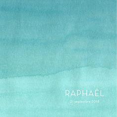 Faire-part de naissance Aquarelle 4 pages bleu