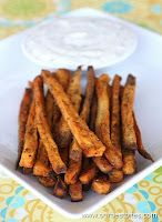 sweet potato fries with honey lime dip-  I didn't make the honey lime dip, but the fries turned out really good!