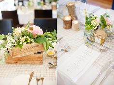 french vintage wood crates filled with Peonies, on natural runner with jam jars and Log wood candles