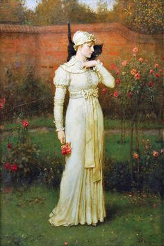 George Henry Boughton - The rose garden