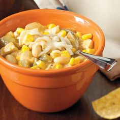 White Chili With Chicken. I'll have to see how this compares to my tried and true white chili recipe! Chili Recipes, Soup Recipes, Chicken Recipes, Dinner Recipes, New Recipes, Cooking Recipes, Favorite Recipes, Healthy Recipes, Chicken Soup