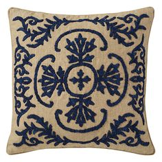 A smart linen cushion cover, hand-embroidered with a Tudor-inspired design. The Large Evora Cushion Cover is perfect for adding texture and depth to a sofa or armchair. Plain backed. Piped edges. Concealed zip fastening. 100% linen base with 100% polyester embroidery. Pad sold separately.