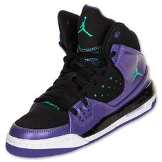 Girls Grade School Jordan Flight SC 1 Basketball Shoes | FinishLine.com | Black/Purple/Teal Yes please! Option#1 new shoes