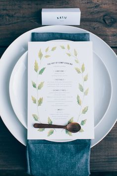 West Elm plates and napkins, styled by Beth Kirby, menu design by Rebekka Seale