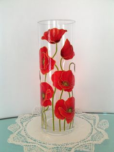 Red Poppies Painted glass vase Handpainted glass vase Hand painted Painted vase Home decor Wedding gift Gift for mom Gift for girlfriend
