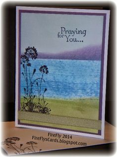 praying for you card by Shawn Crawford... inked scene using combination of direct-to-paper, daubing, and sponging and a silhouette stamp
