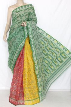 3D Green Red Yellow Designer Handwoven Bengali Tant Cotton Saree (Without Blouse) 13998