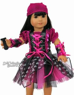 "Punk Rock Pirate Costume for 18"" Dolls such as American Girl"