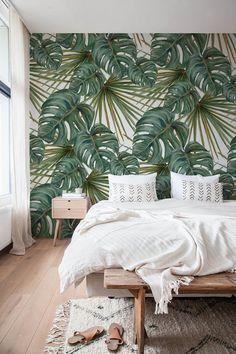 Papel pintado tropical Tropical Bedrooms, Temporary Wallpaper, Boho Bedroom Decor, Bedroom Ideas, Bedroom Designs, Decor Room, Bohemian Bedrooms, Luxury Bedrooms, Decoration Bedroom