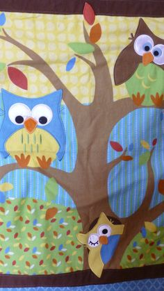 BABY BLANKET QUILT with Owls sitting in a by DonnaleesTreasures, $24.50