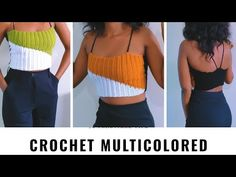 HOW TO CROCHET MULTICOLORED RIBBED TOP - YouTube Slouch Hat Crochet Pattern, Crochet Poncho, Crochet Halter Tops, Crochet Crop Top, Learn To Crochet, Easy Crochet, Crochet Baby Costumes, Ribbed Top, Crochet Videos