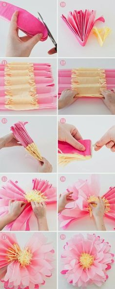 DIY paper flower idea - make in white and spray with glitter to hang from trees!!