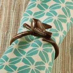Bronzed Bird Napkin Ring - pretty napkin too!