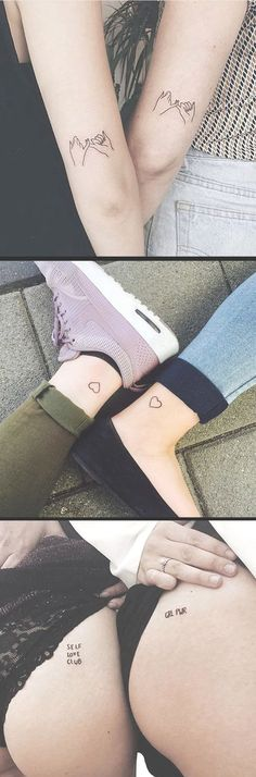 Small Meaningful Tattoos Ideas to Get with Your Sister For 2 Matching Ankle Hearts - Pink Promise Elbow Tatouage - Girl Power Butt Ideas Del Tatuaje - www.MyBodiArt.com