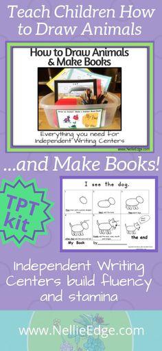 How to Draw Animals and Make Books Narrative Writing Kindergarten, Writing Center Preschool, First Grade Writing, Writing Workshop, Teaching Kindergarten, Writing Activities, Teaching Reading, Teaching Kids, Preschool Science
