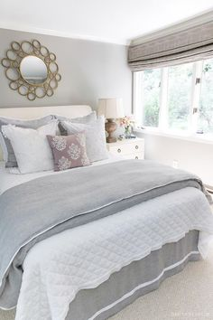 Six Simple Ideas for Creating a Guest Bed Your Guests Will Love! Love the pretty bedding combination of the white linen quilt and gray & white duvet! Links and details in post! Bedroom Furniture Sets, Bedroom Sets, Bedroom Decor, Design Bedroom, Master Bedrooms, Bed Furniture, Small Guest Bedrooms, Bedrooms With White Furniture, French Furniture