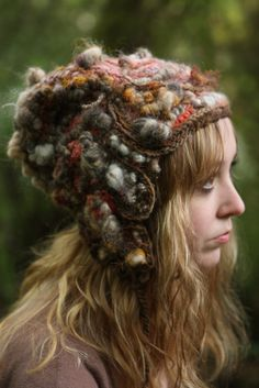 Blush Coils- freeform crochet hat by girlwithahook