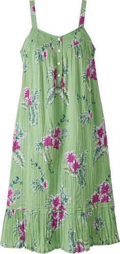 Aloha Floral Nightgown Inspired By Traditional Muumuus, This Crinkle Cotton Nightgown Is As Cool As a Tropical Breeze Simple Dresses, Cute Dresses, Girls Dresses, Summer Dresses, Modest Fashion, Fashion Dresses, The Dress, Dress Skirt, Nightgown Pattern