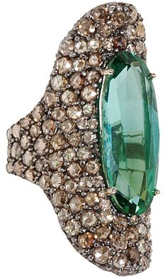Sidney Garber Chrome Tourmaline & Diamond Ring