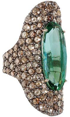 Sidney Garber - 18k white gold,15.73ct green tourmaline, 70 brown diamonds, 139 rose cut brown diamonds
