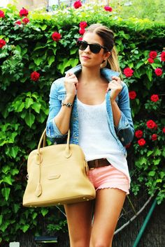 jean jacket, white whirt, pink shorts brown belt/bag/shoes!!! LOVE