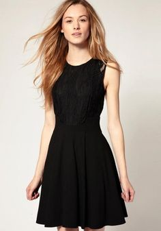 Black Plain Sleeveless Chiffon Mini Dress