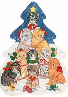 "Cat Christmas Tree Postcard, from Dogstuff.com. This oversized postcard features nine delightful kittens in a whimsical tree pattern. The backside is blank for your special holiday message. Measures 8"" x 6"" and includes envelope. Requires additional postage."