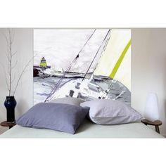 Tête de lit Marine en tissu (coton et lin) imprimé de la marque Mademoiselle Tiss. Convient pour un lit en 160cm ou 140cm.  #TeteDeLit #DecoChambre #Chambre