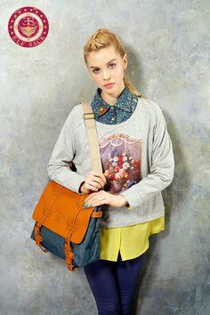 Womens Fashion Preppy Style Flap Leather Handbags Brown Blue Tote Bag