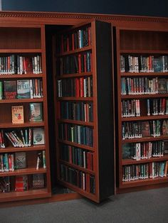 Secret passage behind bookshelf. I always thougjt it would be awesome to have one of these that led to a reading room. Or Narnia.