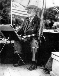 John Singer Sargent painting aboard the Blaney yacht Irona, off Ironbound, 1922