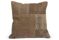 Dark-Brown Woven Patchwork Pillow