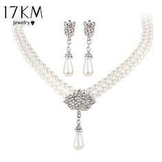 17KM Charming Bride Simulated Pearl Jewelry Set