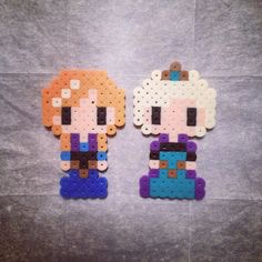 pegs needed. Anna and Elsa Frozen perler beads by jaaaaaynick Easy Perler Bead Patterns, Melty Bead Patterns, Perler Bead Templates, Diy Perler Beads, Perler Bead Art, Beading Patterns, Peyote Patterns, Pixel Beads, Fuse Beads