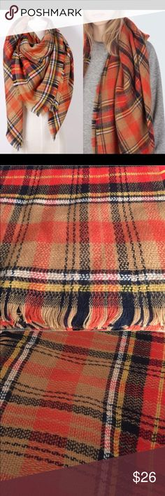 """Blanket Scarf autumn harvest Soft and lightweight. Approximately 55""""x55"""" - 58""""x58"""". Images 2, 3, 4 show an actual stock item. Very soft acrylic. Brand new in package. No trades, no holding, no offsite payment.        ❗️PRICE IS FIRM UNLESS BUNDLED❗️ Leoninus Accessories Scarves & Wraps"""