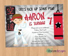 Karate Birthday Party Invitation Taekwondo Birthday Party
