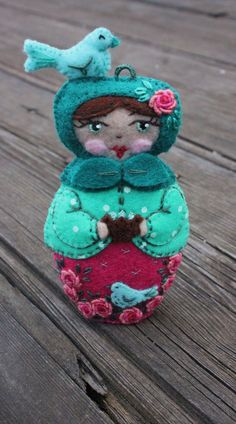 Matryoshka - Mother Earth with Doves, Nest and Grub Roses - Hand Embroidered Felt