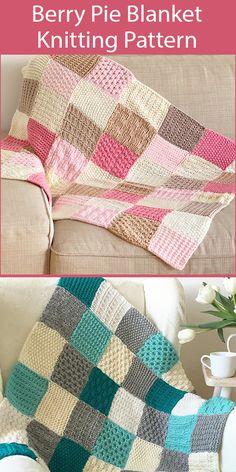 Sampler Baby Blanket Knitting Patterns- In the Loop Knitting Baby Knitting Patterns, Free Baby Blanket Patterns, Knitting Stitches, Stitch Patterns, Start Knitting, Easy Knitting, Knitted Throw Patterns, Crochet Patterns, Knitted Squares Pattern