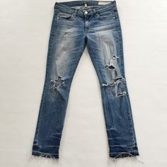"Rag and Bone Destroyed Boyfriend Jeans Rag and Bone Boyfriend Jeans in a light, factory destroyed finish.  Pre-loved but in excellent condition.  No damage or stains.  Measurements laying flat: Waist (across): 15"" Hips: 17"" Rise: 8"" Inseam: 27.5"" rag & bone Jeans"