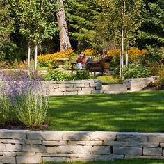 Stone retaining walls, different levels.