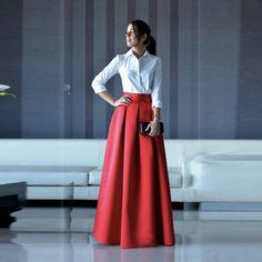 Elegant Long Women Skirt Zipper Waist A Line Floor Length Full Maxi Skirt Red Pleated Skirt Customized Style