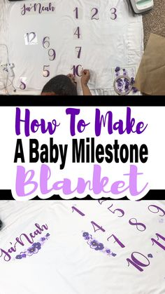 Learn how to use your Cricut EasyPress 2 to make this cute little baby milestone blanket. The EasyPress makes creating projects like this a breeze! CRICUT CRAFTING Learn how to use your Cricut EasyPress 2 to make this cute little baby milestone b Diy Guide, Baby Milestone Blanket, Milestone Blankets, Month Blanket Baby, Cricut Craft Room, Foto Baby, Circuit Projects, Cricut Tutorials, Cricut Ideas