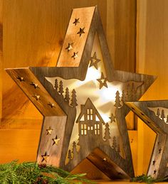 Large Lighted Wooden Stars With Laser-Cut Cabin Design