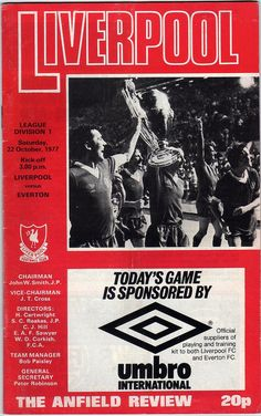 Vintage Football (soccer) Programme - Liverpool v Everton, 1977/78 season #football #soccer #liverpool