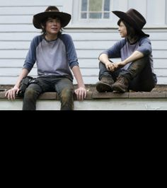 'The Walking Dead': Behind The Scenes Candids | Chandler Riggs and his double